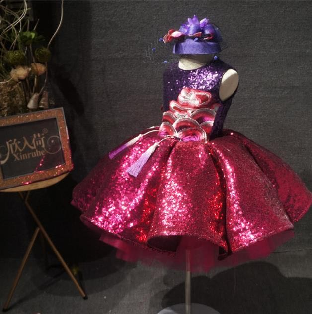 Luxury Sparkly Sequins Embroidery Infant Baby Girls Clothes Infant Tutu Pageant Dresses Toddler Birthday Gowns with Headpiece