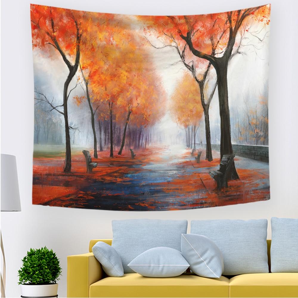 2021Hawkalice горный гобелены лес гобелен с изображением деревьев хиппи закат настенный гобелен Природа Гобелен с пейзажем на стене для комнаты