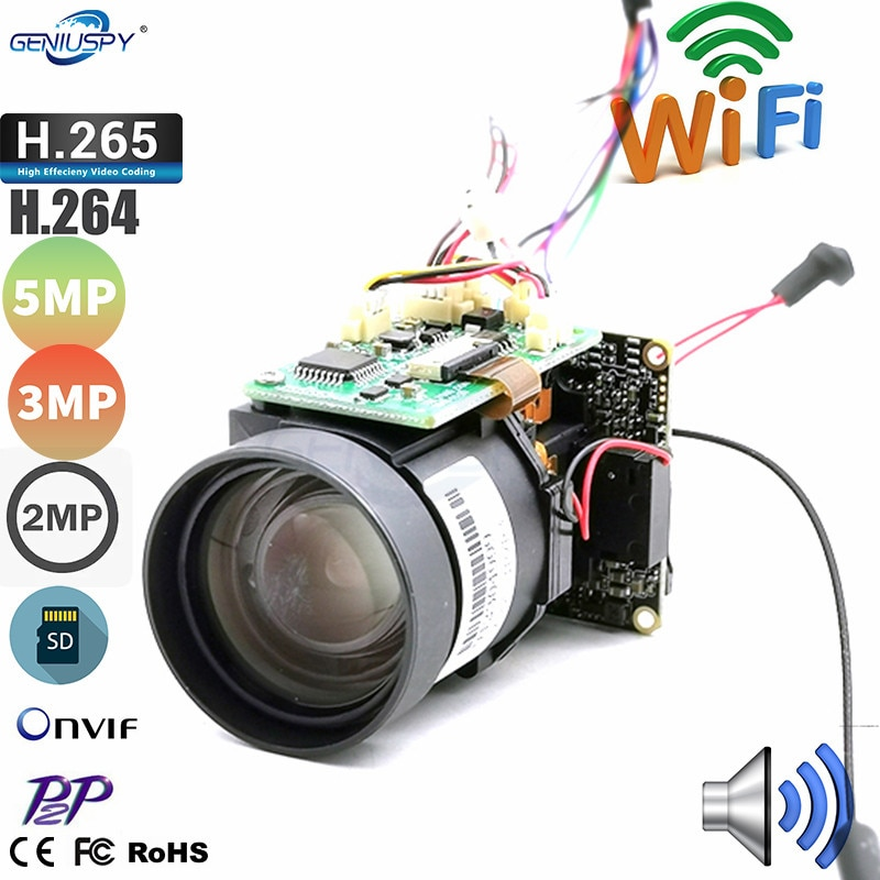2mp 3mp 5mp 10x zoom 4.9-47mm lente wifi ip módulo de câmera ptz cctv sistema de segurança sem fio ap onvif duas maneiras de áudio tf slot para cartão