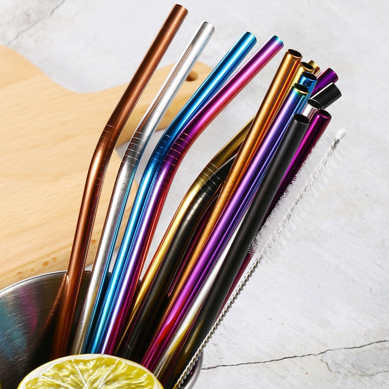 Colorful 304 Stainless Steel Straws Reusable Straight Bent Metal Drinking Straw Party Bar accessory