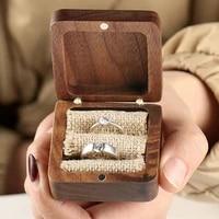 fine walnut jewelry box wedding ring box minimalist jewelry storage square shaped ring box wedding gifts jewelry display box