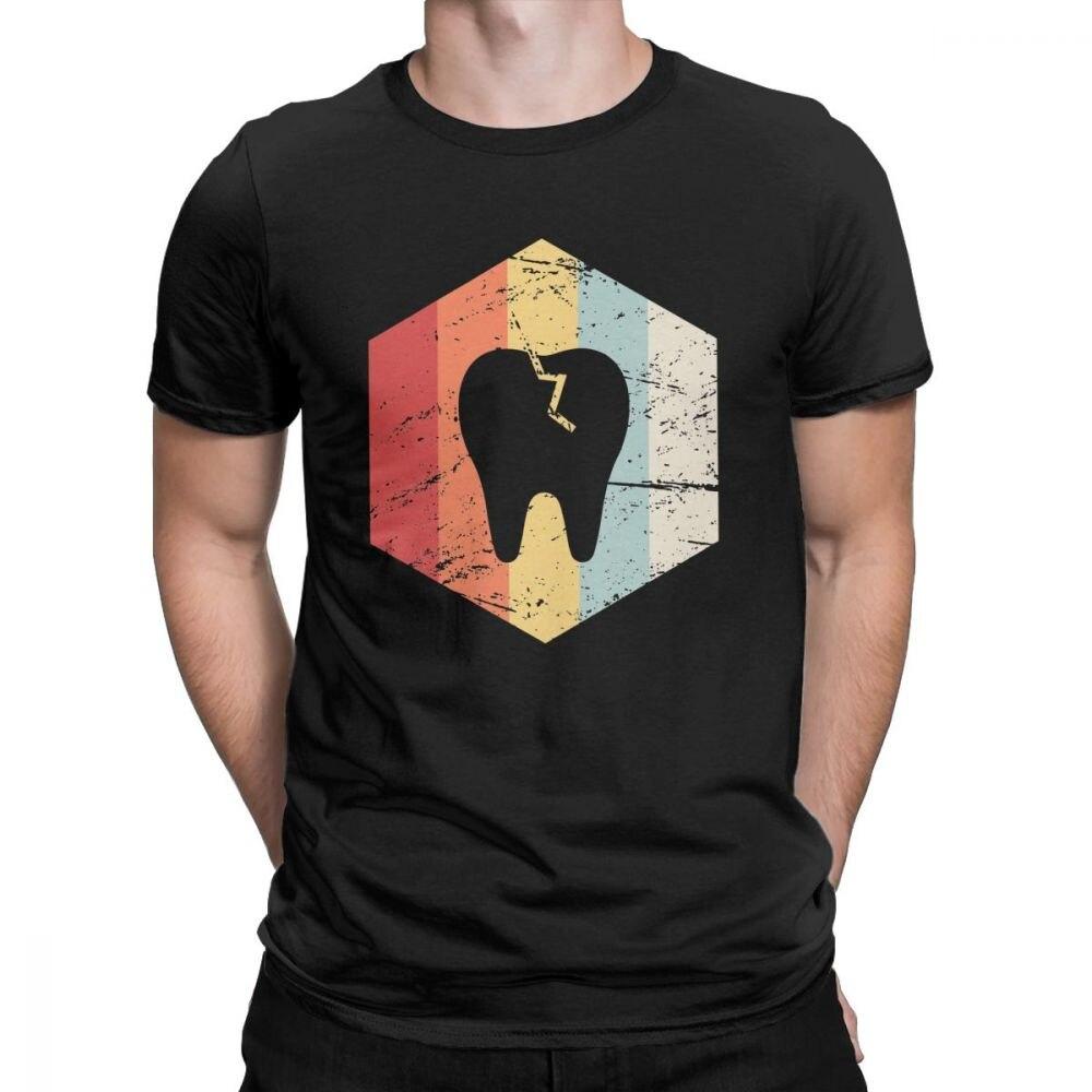 Dentista Retro 70s diente icono divertida camiseta hombres odontología Dental higienista Tops nuevas camisetas de llegada 100% Camisa de algodón
