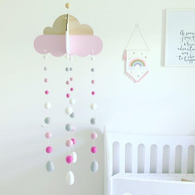 INS de nube con lana bolas colgante decoración de habitación de los niños de la pared adornos campanas de viento bebé tienda de campana de la cama de la foto accesorios