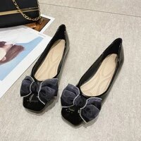 new flat shoes butterfly knot woman loafers women soft bottom square toe ballet flats black patent leather womens shoes