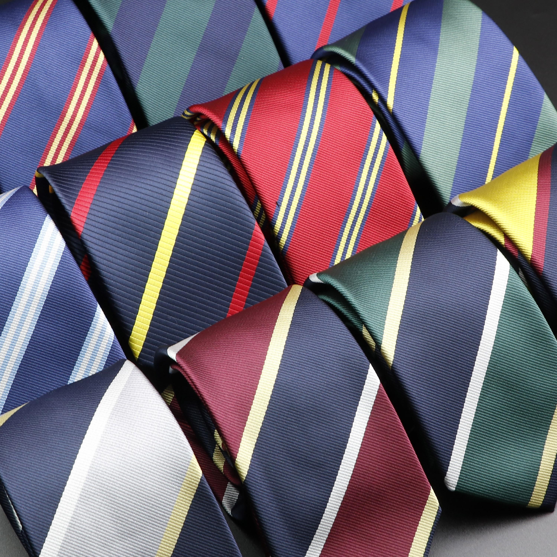 New Men's Tie Classic Stripe 7cm Jacquard Red Blue Green Necktie Daily Wear Cravat Wedding Party Dress Accessories Gift For Man
