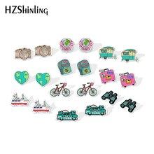 2020 New Travel Camera Stud Earring Backpack Trunk Acrylic Earring Funny Jewelry Epoxy Shrinky Dinks Resin Earrings