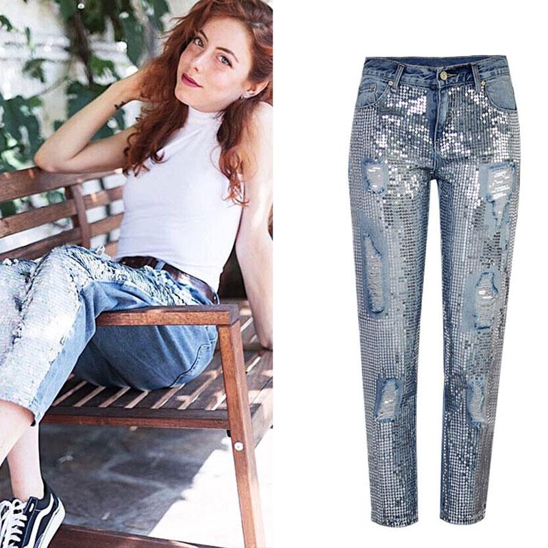 Cool pantalones jeans mujeres Midi-Cintura jeans rasgados para damas escamas de pescado lentejuelas agujero Pantalones rectos Jean lápiz pantalones clásicos