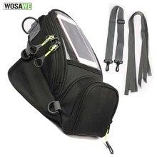 WOSAWE sacs de réservoir de moto magnétiques   Sacs solides pour téléphone portable, sac de réservoir dhuile de Navigation, sangles fixes, sac givi pour téléphone