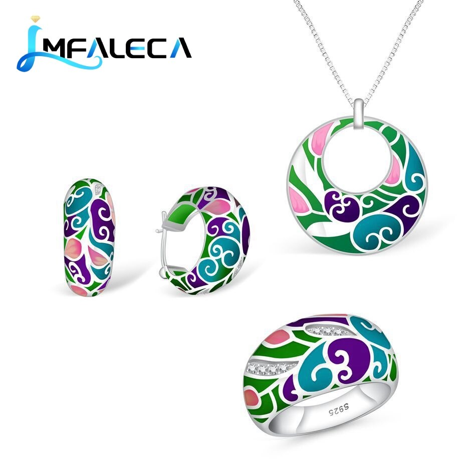 Review LMFALECA Silver 925 Jewelry Sets Bright Multicolor Transparent Enamel Hoop Earrings Ring Necklace Luxury Fine Jewelry for Women