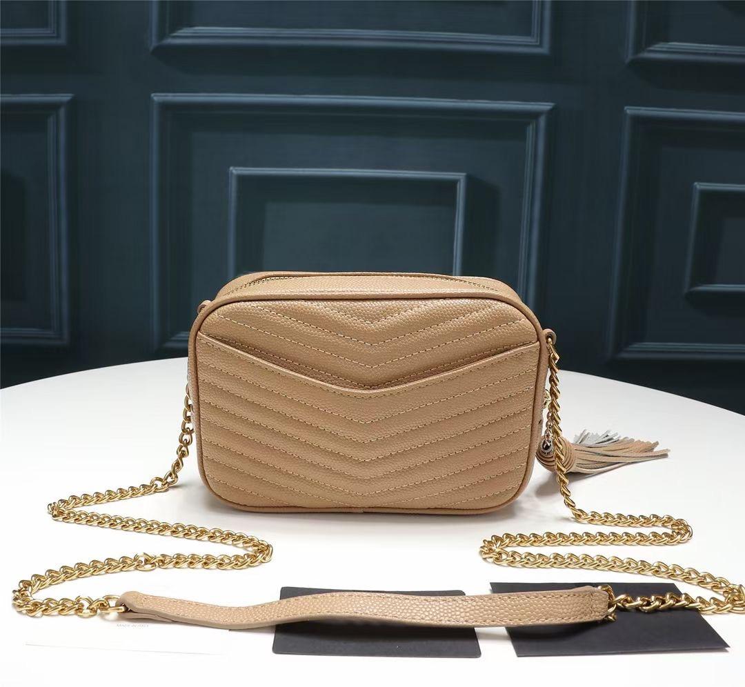 حقيبة كتف نسائية من الجلد الطبيعي ، حقيبة بسلسلة ، نوعية جيدة ، ماركة مشهورة ، فاخرة ، مخططة ، عصرية ، 2021