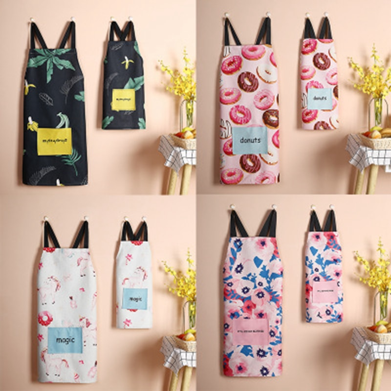 Fashion Apron for Woman Kitchen Cooking Baking Antifouling Vest Aprons Household Cleaning Accessories Working Apron with Pocket