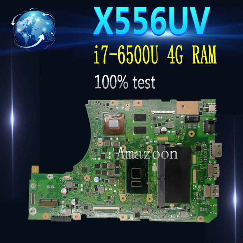 Amazon X556UJ / X556UV اللوحة الأم للكمبيوتر المحمول Asus X556UV X556UB X556UR X556UF Teste اللوحة الأم الأصلية 4g RAM i7-6500U DDR4