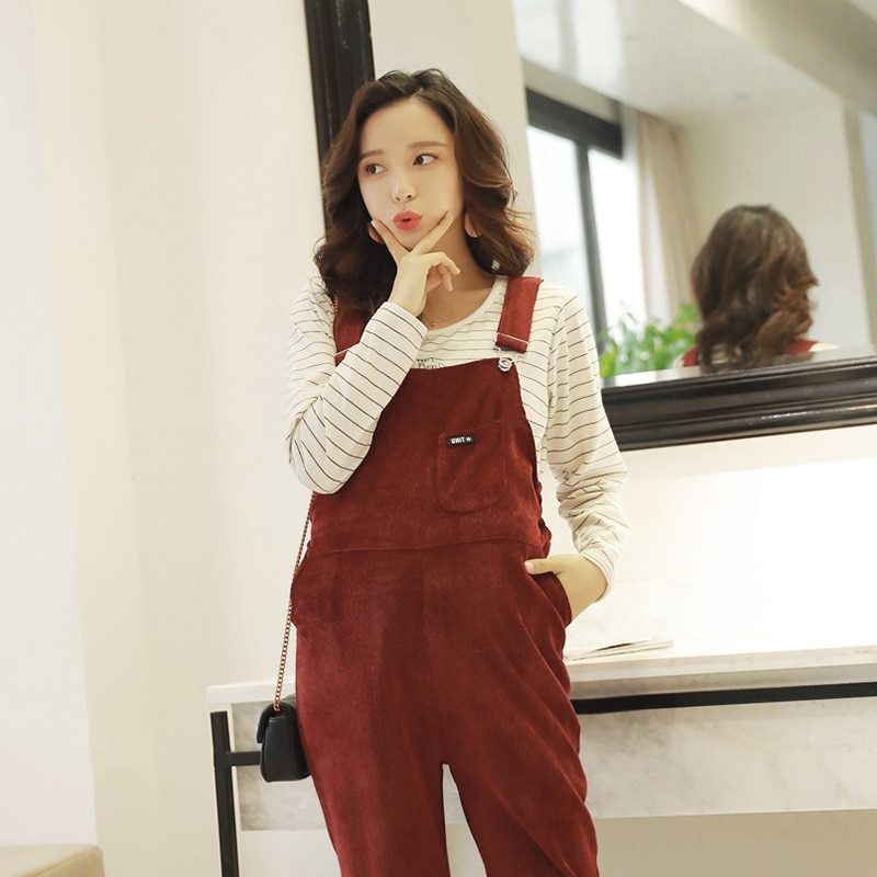 Maternity Pants New Pregnant Women Jumpsuit Maternity Corduroy Casual Pants Spring And Autumn Overalls Roupa Gestante Trousers enlarge