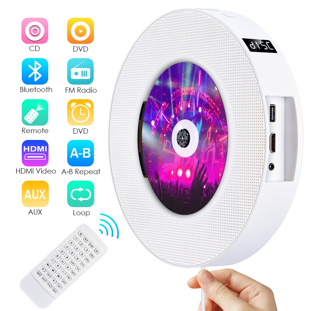 Qosea portátil de pared montable Bluetooth CD/reproductor de DVD pantalla LED USB altavoz HiFi Audio con Radio FM de Control remoto incorporado