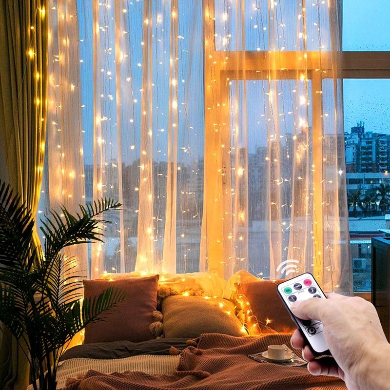 Guirnalda navideña de guirnaldas de luces LED, guirnalda de luces de cuerda, control remoto incluido, decoración del hogar, dormitorio, ventana de vacaciones, iluminación