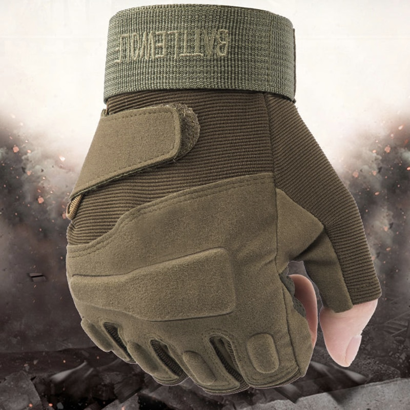 Tactical Rubber Knuckle Fingerless Gloves Protection for Airsoft Paintball Riding Motorcycle Work enlarge