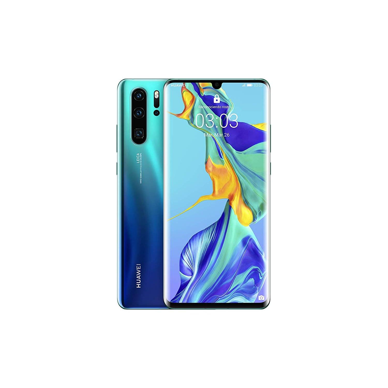 "Huawei P30 Pro, Color Azul Aurora, Dual SIM, 128 GB de Memoria Interna, 8 GB de RAM, Pantalla de 6.47"", Cámara frontal"