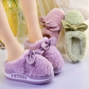 Fluffy Floor Cotton Shoes Ladies Sweet Home Slippers Women's Winter House Slippers Plush Warm Female Fur Slides 2021