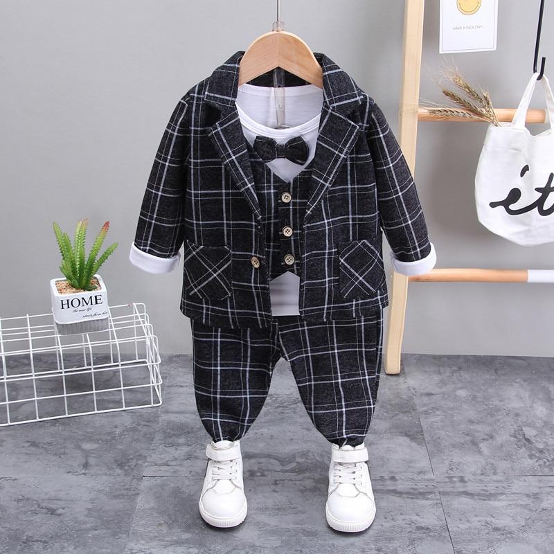 AliExpress - Spring Baby Boys Fashion Gentleman Bow Suits T-shirt Pants Plaid 3 Pcs/Set Children's Long-sleeved  Kids Suits Set 1 2 3 4 Years