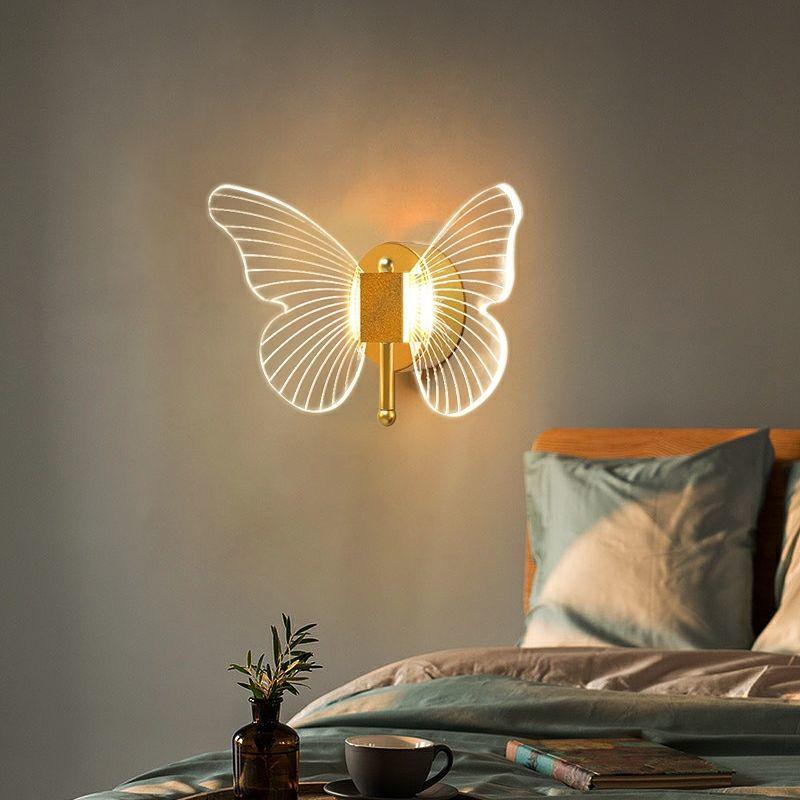 LED فراشة الجدار مصباح غرفة نوم أباجورة حائط الخلفية ضوء ديكور المنزل الحديث إضاءة داخلية الجدار الشمعدان مصباح