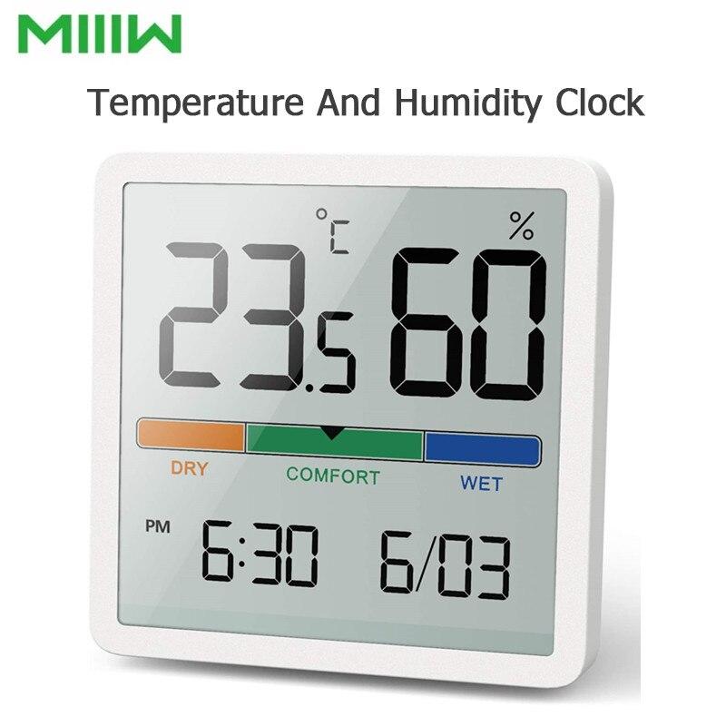Temperatura e Umidade Interior de Alta Monitor de Temperatura Miiiw Mudo Relógio Casa Precisão Bebê Sala c – f 3.34 Polegada Enorme Tela Lcd