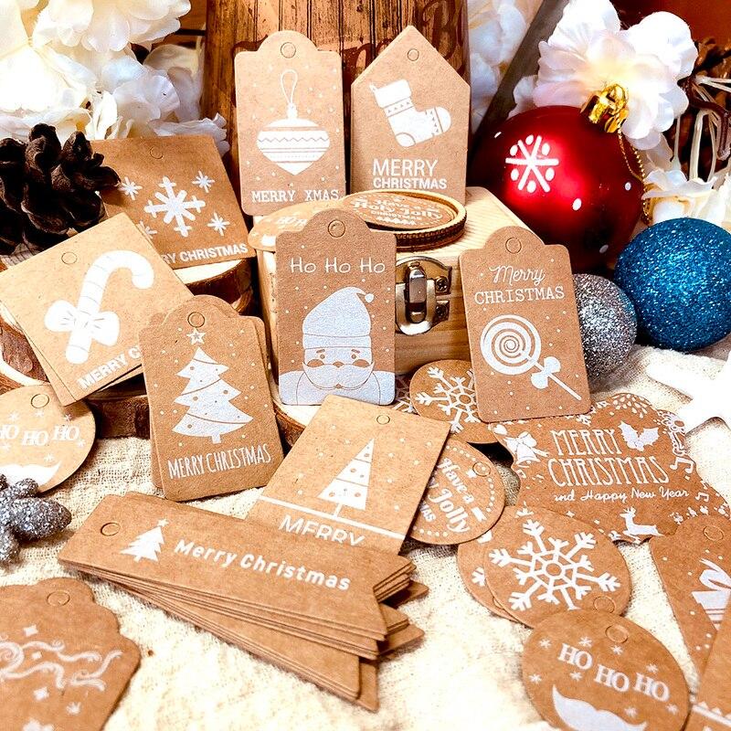 50pcs Christmas Gift Tags Kraft Paper Tag Label Xmas Gift For Party DIY Price Label Gift Box Hang Tag Garment Tags