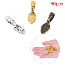 50 pièces/ensemble cuillère en alliage tibétain colle sur Bails feuille coussin plat pendentif Bails ton bijoux à bricoler soi-même faisant des accessoires