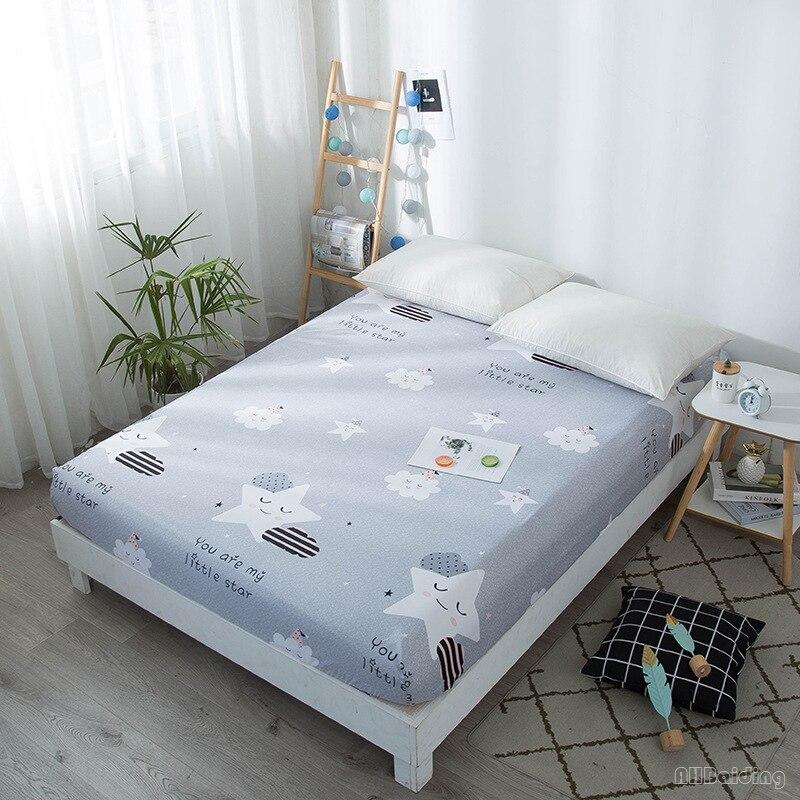 A nuvem cinzenta da estrela dos desenhos animados imprimiu a folha cabida 1pc crianças folha de cama macia do poliéster com a faixa elástica 15/25cm capa de colchão profunda