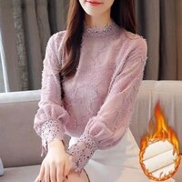 fashion woman blouses 2019 winter thick lace chiffon blouse shirt plus size women tops long sleeve blouse shirts blusas