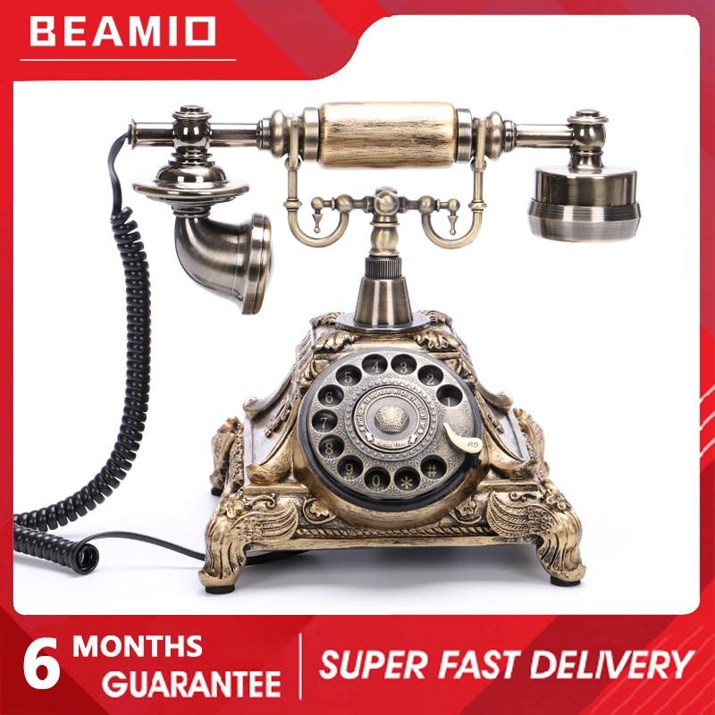 Beamio настоящий античный телефон Landlin с вращающимся металлическим диском ретро телефон для офиса дома отеля Украшение подарок