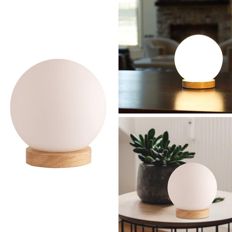 كرة زجاجية الجدول مصباح وشملت-مصباح منضدة-مصباح صغير قاعدة خشبية طبيعية مع زجاج قاتم مستدير