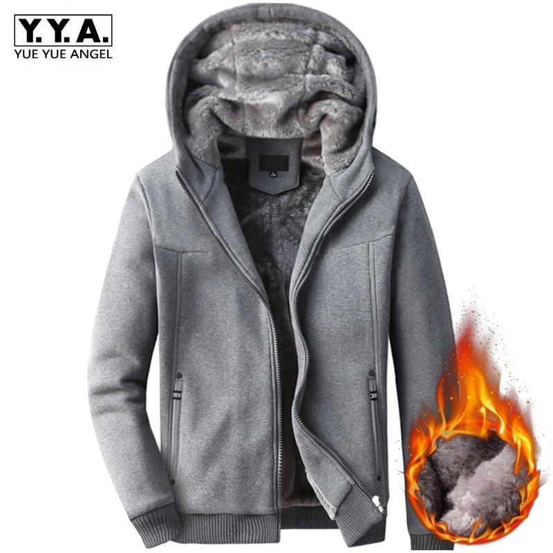 Coreano fino ajuste dos homens com capuz casaco casual inverno forro de pele quente streetwear masculino algodão de manga comprida camisolas outwear sobretudos