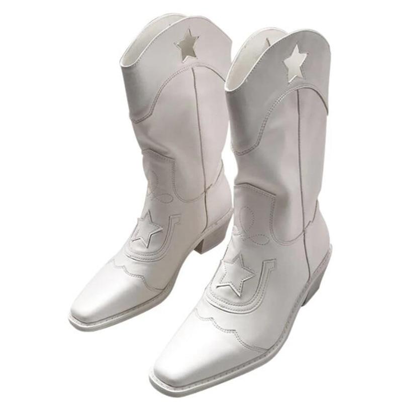 2021 المرأة الأحذية الرجعية التطريز قبعات رعاة البقر الغربية الأحذية النسائية منتصف أنبوب أحذية أحذية نسائية فاسق الأحذية الحديثة