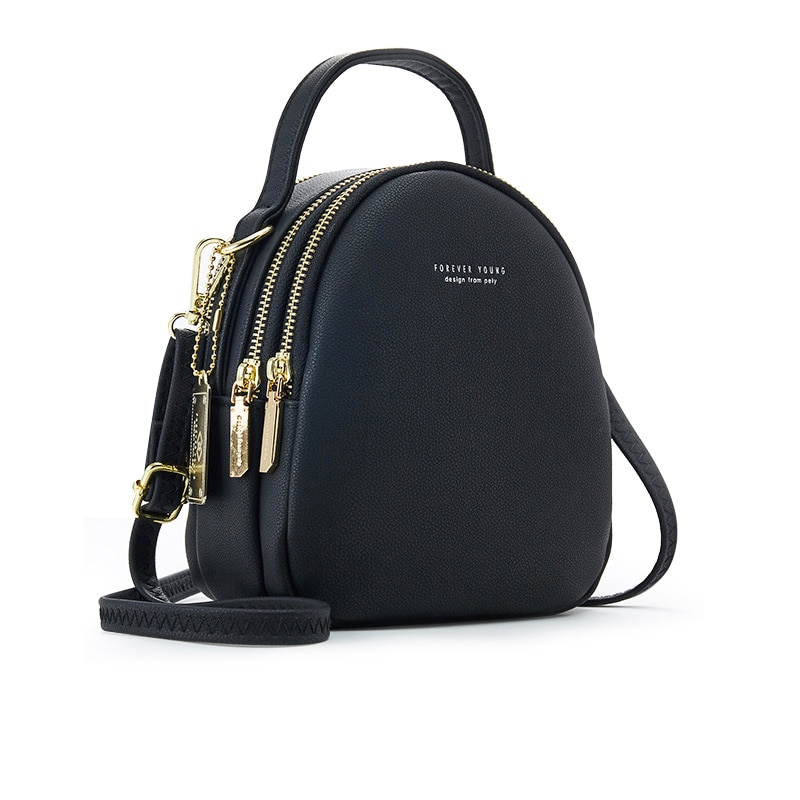 Soft Leather Female Mini Bolsa Big Capacity 3 Layer Women Backpack Fashion Small Backpack Ladies Shoulder Crossbody Bag