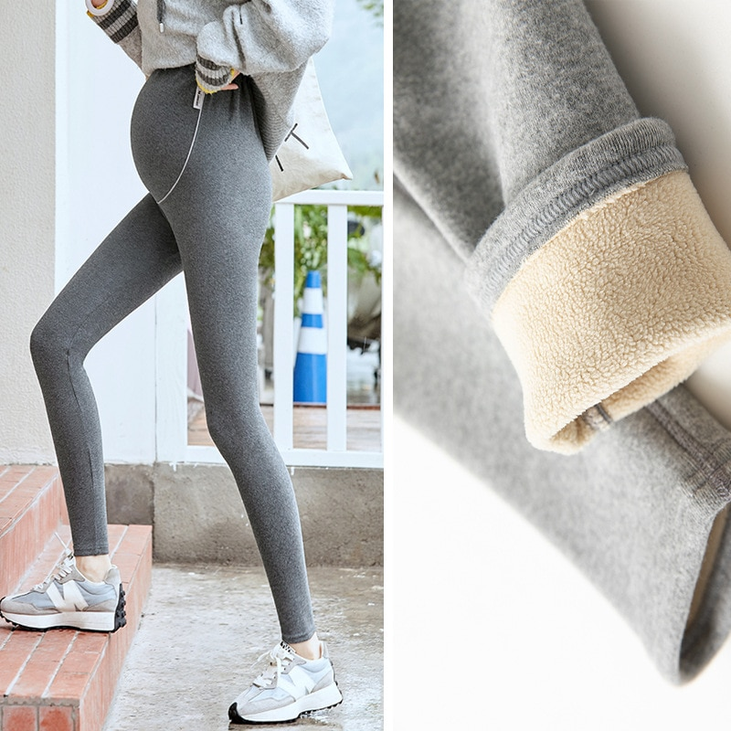 High Abdomen Leggings for Pregnant Women 2021 Maternity Pants Pregnancy Clothes Womens Winter Maternity with Plush