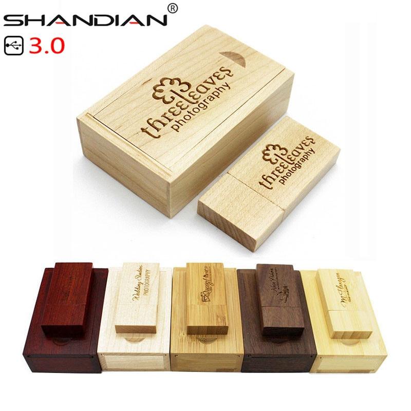 SHANDIAN USB 3.0 Wooden usb with box USB flash drive pen driver wood chips pendrive 4GB 16GB 32GB 64GB creative 1PCS free logo