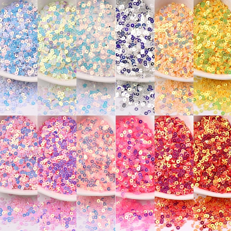 High Flash Austria Sequins 2mm 3mm 4mm Flat Round Sequin Paillettes Glitter For DIY Garments Sewing Accessories Nail Phone Decor