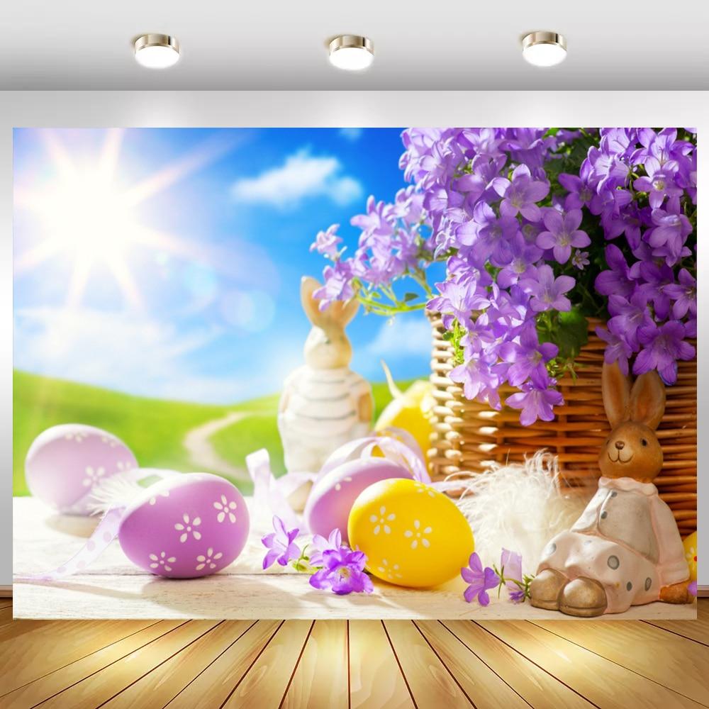Laeacco весенние пасхальные яйца Цветущая корзина цветы Солнечный Голубой небо сценический фон для фотосъемки фон для фотостудии