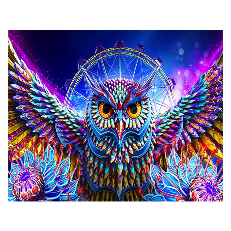 Colorful Owl Digital Oil Painting By Numbers Canvas Wall Picture DIY Hand Painted No Frame Home Decor for Adults Beginner