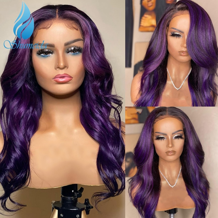 SMD Purple Color 13*6 Lace Front Human Hair Wigs 150% Density Peruvian Remy Hair Body Wave Glueless