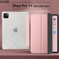 Чехол Funda для iPad Pro 11 2018 2020 2021, чехол из искусственной кожи тройного сложения, чехол для планшета Apple iPad A2068 A2230 A2013 A1934, чехол-подставка