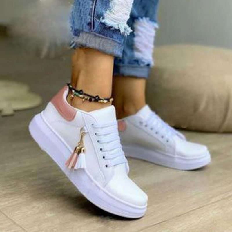 Women Fashion Lace Up Pu Tassel Decorative Fabric Flat Heel Lace Up Sports Shoes Outdoor Board Shoes