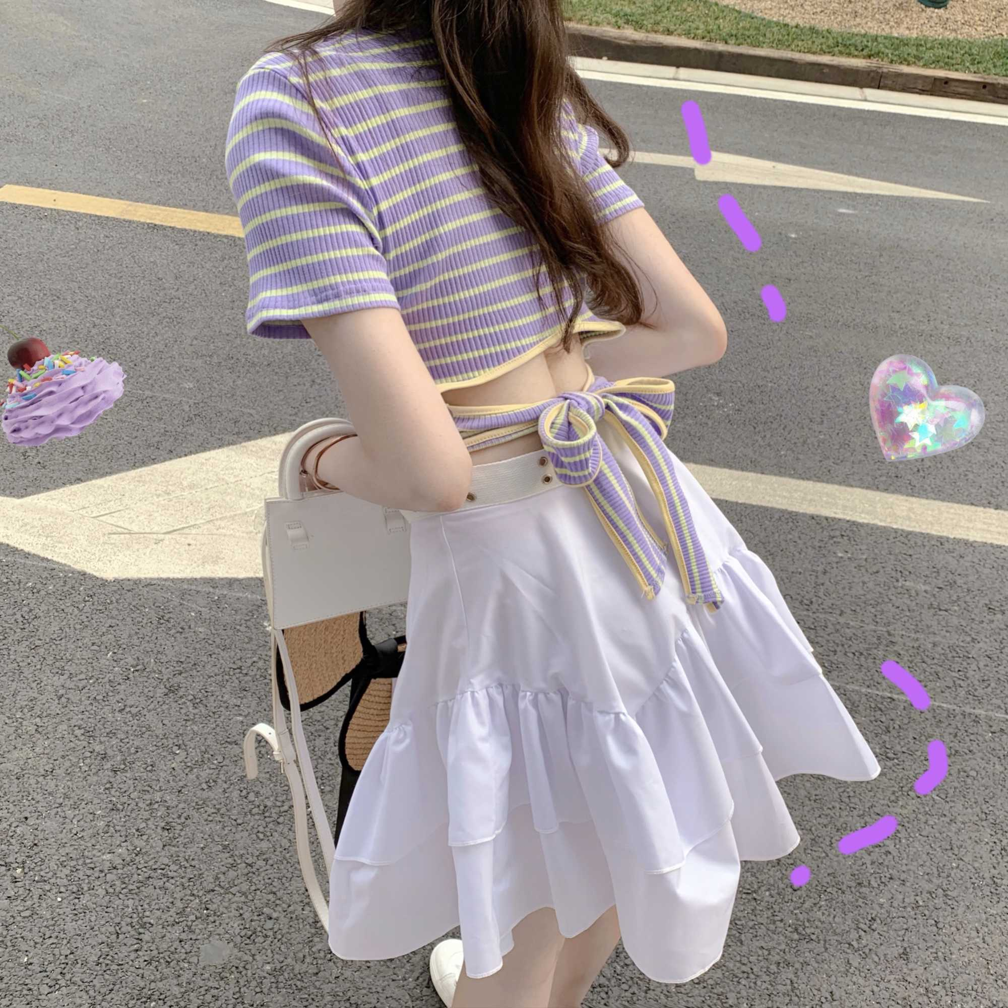2021new Summer Women's Clothes Short Striped Lace-up Top + High Waist Skirt Two-Piece Set Fashion Su