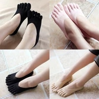 2pcs 1 pair new soft women solid seamless low cut crew ankle five finger toe boat socks hosiery socks slippers
