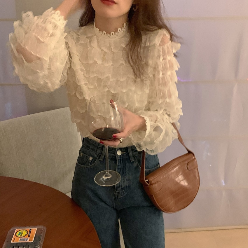 H2abf55d0ca10424a90c4ef15388bf7c5K - Spring / Autumn O-Neck Long Sleeves Hook Flowers Hollow Out Ruffles Blouse