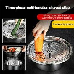 Multifuncional Bacia de Aço Inoxidável Pia Da Cozinha Coador de Malha Fina Cesta Bacia De Lavagem De Verduras 3PCS Set Dropshipping