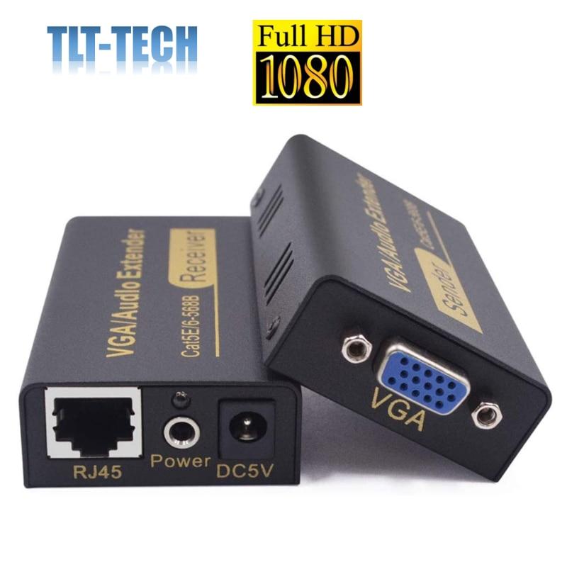 100M 328ft VGA Extenders,VGA Video Audio Extender Transmitter + Receiver Over Single RJ45 CAT5e/6 Ethernet Cable Support 1080P usb kvm extender lossless and no latency hdmi transmitter and receiver over single cat5e 6 utp ethernet cable hdmi kvm extender