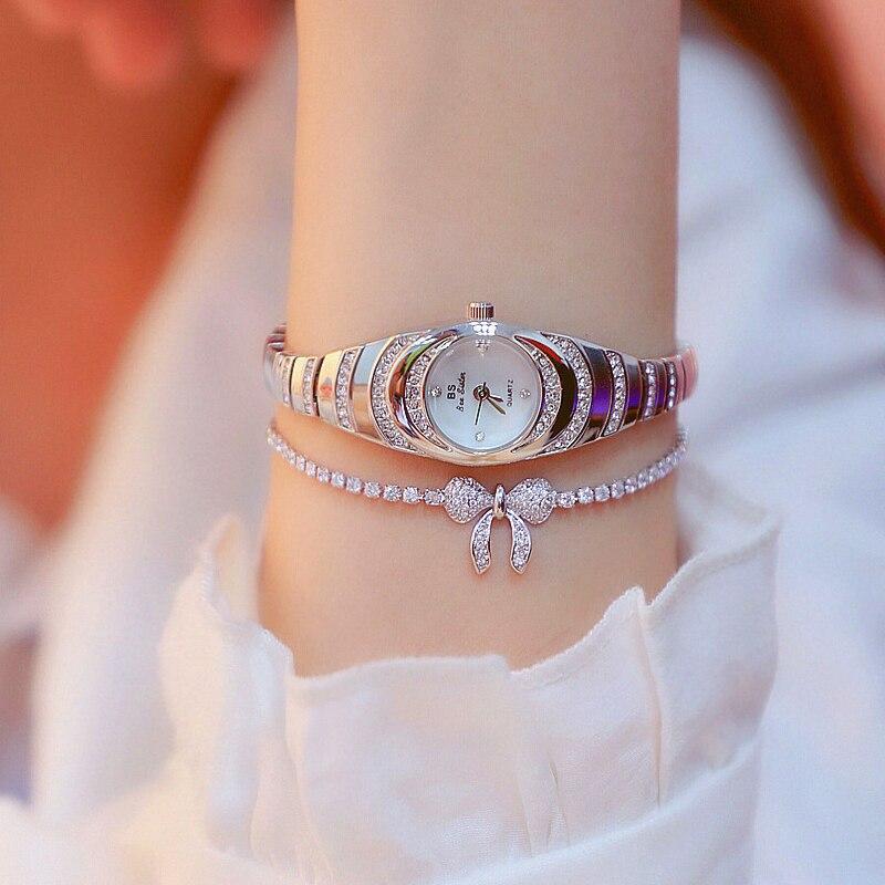 Luxury Brand Small Women Jewelry Watches Silver Quartz Wristwatch Bracelet Watch Fashion Casual Ladi
