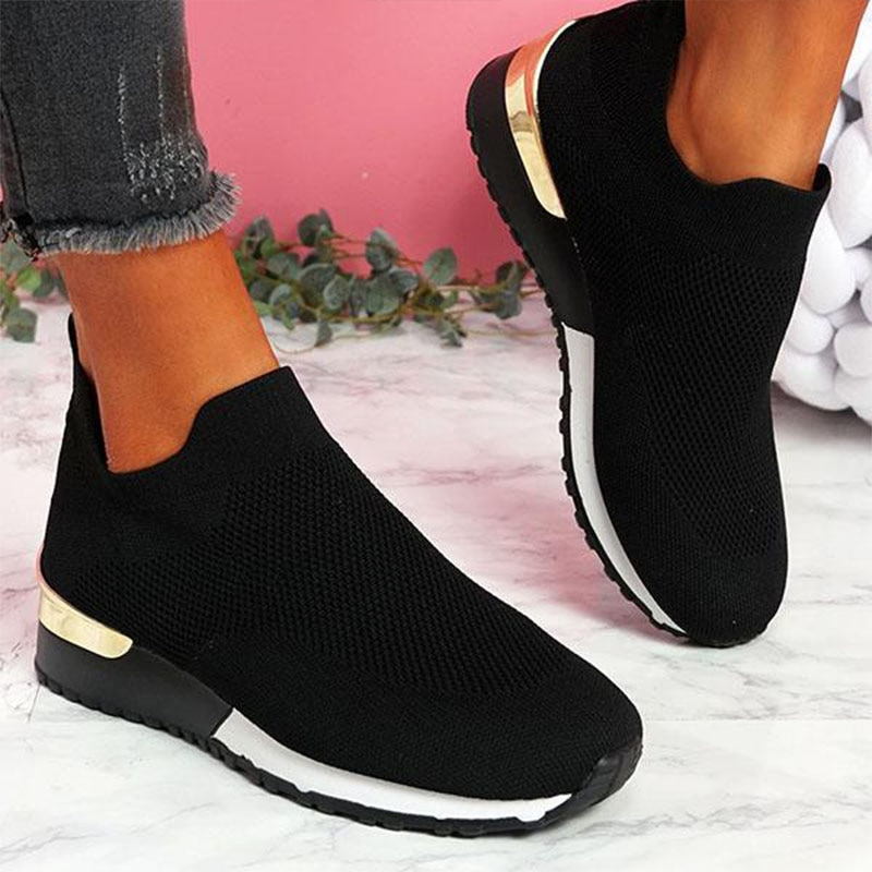 Vulcanize Shoes Sneakers Women Shoes Ladies Slip-On Knit Solid Color Sneakers for Female Sport Mesh