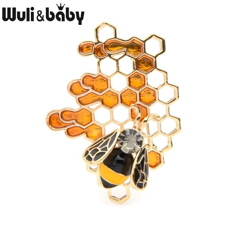 Wuli & baby эмаль пчела соты Броши для женщин и мужчин сплав насекомое свадьба брошь булавки подарки